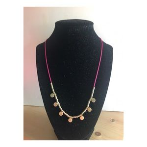 Neon pink threaded necklace